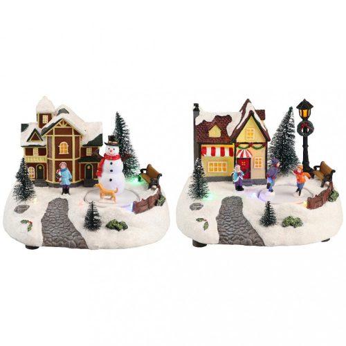 Karácsonyi házikó paddal, karácsonyi dekoráció, 2 féle, multicolor-B/O-LED-19x15x14cm