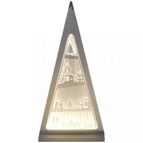 Piramis, 3D dekorációs világítás, ezüst-meleg fehér, LED, 30x7x61cm