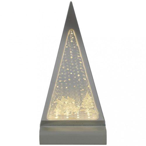 Piramis, 3D dekorációs világítás, ezüst-meleg fehér, LED, 12,5x7x26cm