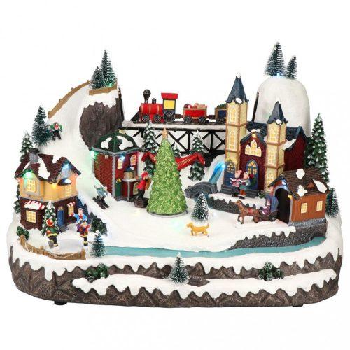 Karácsonyi falu vonattal, multicolor-LED-41x29x28cm