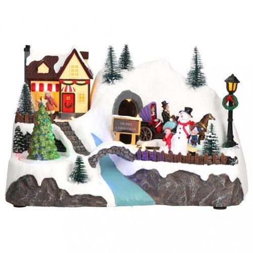 Karácsonyi havas falu, karácsonyi dekoráció, 2 féle, multicolor-LED-29,5x19x19,5cm
