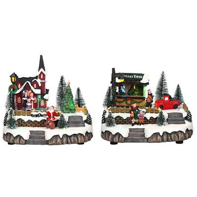 Vidám karácsonyi falu, karácsonyi dekoráció, multicolor-LED-20x17x20cm
