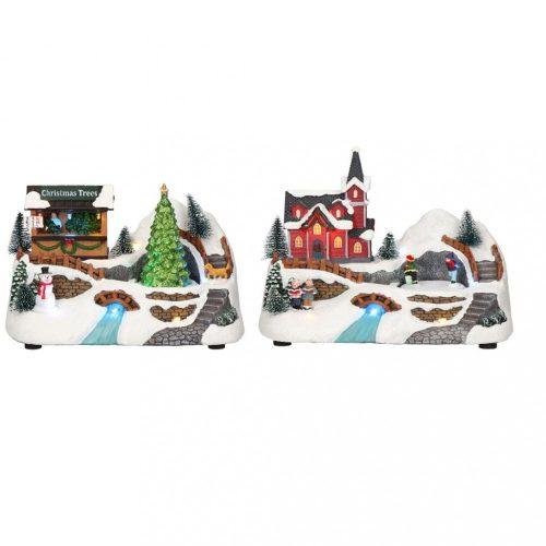 Karácsonyi falu patakkal, multicolor-elem/adapter nélkül-LED-23x14x20,5cm