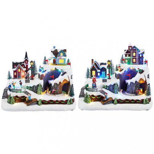 Vidám karácsonyi jelenet, karácsonyi dekoráció, multicolor-LED-31,5x21x25,5cm