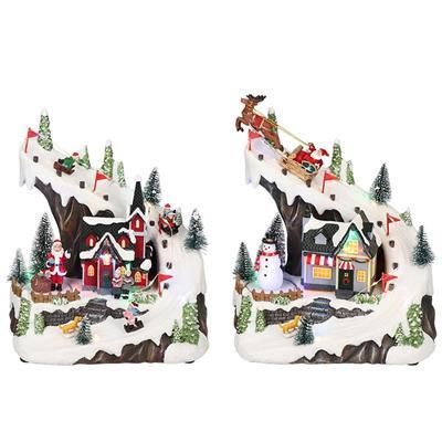 Havas hegyoldal, karácsonyi dekoráció, 2 féle, multicolor-elem/adapter nélkül-LED-23,5x15,5x27,5cm