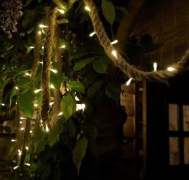 Kötélre fűzött fényfűzér, 60 LED, 3 méter