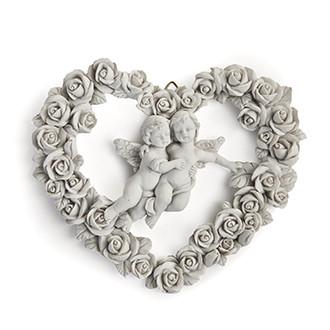 Angyalkoszorú, fehér polyresinből, 15 cm