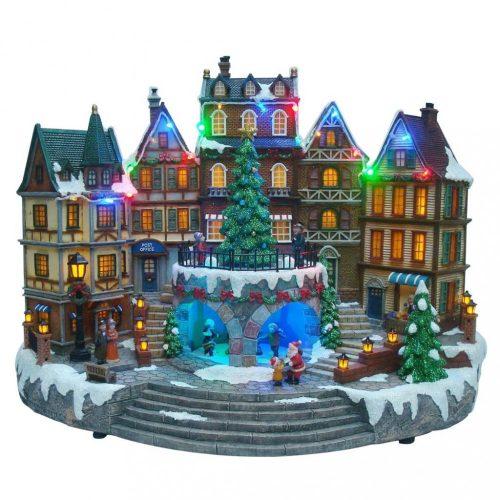 Karácsonyi kisváros, multicolor-adapterrel-LED-22x26x32cm