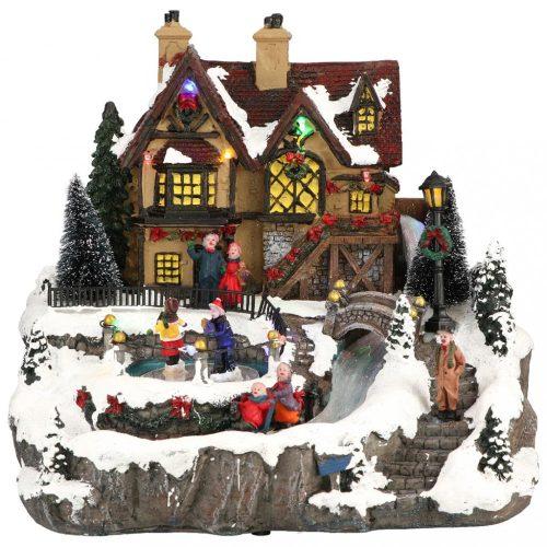 Falusi korcsolyázók, karácsonyi dekoráció, multicolor LED - 28x26x27cm