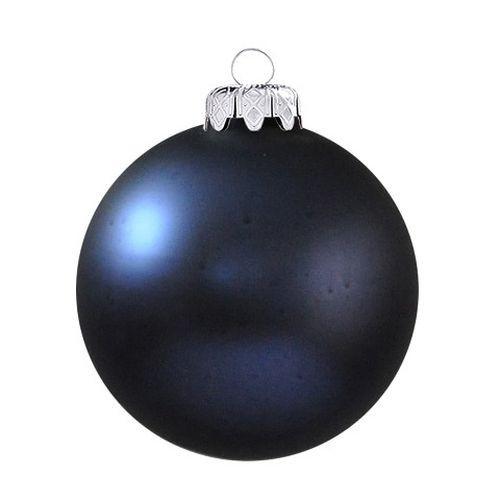 Matt gömbök 6 cm-es 6 db, éjkék - igazi üveg dísz