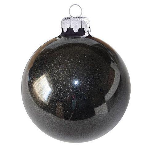 Flitteres gömbök 8 cm-es 6 db, fekete - igazi üveg dísz