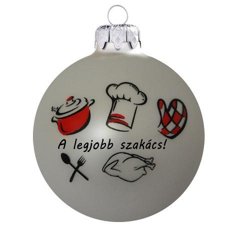 Legjobb ajándék a legjobb szakácsnak, 8 cm-es üveggömb. Rendelje akár névre szólóan!