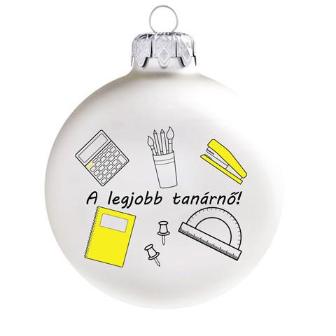 Legjobb ajándék a legjobb tanárnőnek, 8 cm-es üveggömb. Rendelje akár névre szólóan!