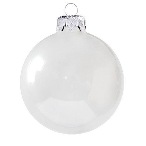 Fényes üveggömbök 6 cm-es 6 db, fehér