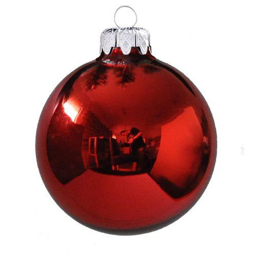 Fényes üveggömbök 6 cm-es 6 db, piros