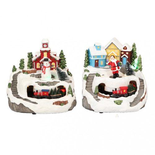 Karácsonyi kisvasút, karácsonyi dekoráció, multicolor-elem/adapter nélkül-LED-13x12x14cm