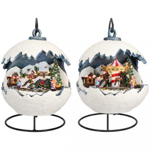 Karácsonyi gömb, 2 féle animációval, multikolor, LED, 20,5x20,5x22cm