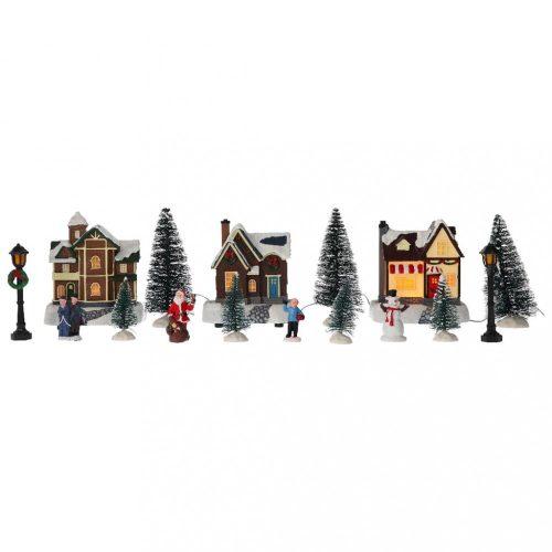 Kezdő készlet karácsonyi faluhoz, 17 db,-LED-40x16x18cm