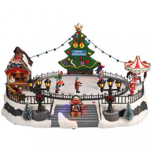 Karácsonyi jégpálya-multicolor-LED-40,6x28x22cm