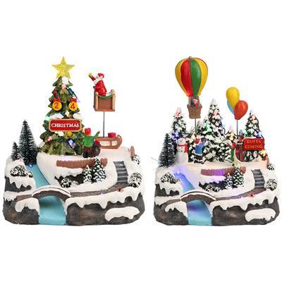 Karácsonyi lufis vagy szánkós dekoráció, 2 féle, multicolor-LED-21x20x24cm