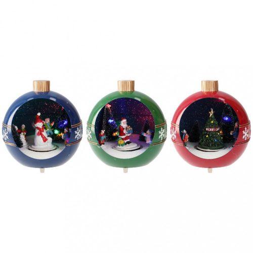 Karácsonyi gömb, 3 féle animációval, piros/zöld/kék-elem/LED-16,4x15,2x17cm