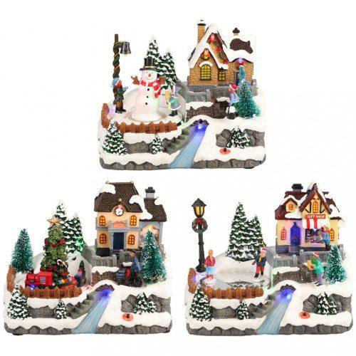 Havas karácsonyi falu, karácsonyi dekoráció, 3 féle, multicolor-LED-23x18x21cm