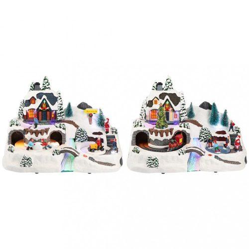 Karácsonyi gyerek vonat, karácsonyi dekoráció, 2 féle, multicolor-adapterrel-FO+LED-37,5x21,5x25,5cm