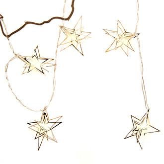 7 cm -es fém csillagok, LEDx10, ezüst, 1,6m