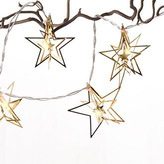 7 cm -es fém csillagok, LEDx10, arany, 1,6m