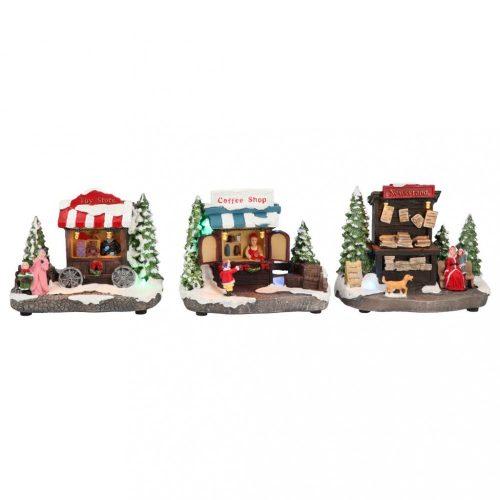 Bolti jelenet, karácsonyi dekoráció, 3 féle, multicolor-B/O-LED-13,5x7,5x11cm