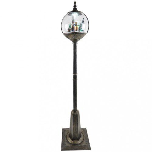 Állólámpa hógömbbel rusztikus fekete színben LED-30x30x177cm