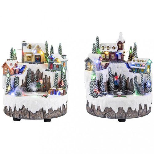 Falusi gyerekek, karácsonyi dekoráció, 2 féle, multikolor, B/O-LED-15x16x17cm