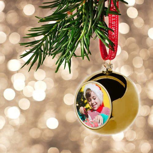 Arany karácsonyi gömb - névvel, születési dátummal