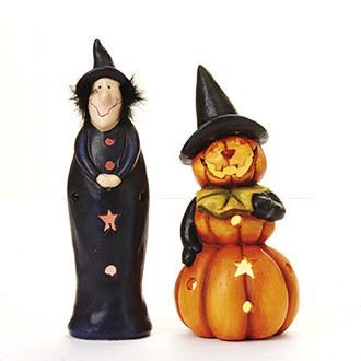 Kerámia Halloween figura, világító, 24 cm, 2 féle