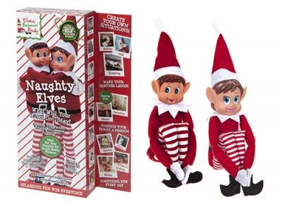 Két hosszú lábú, puha testű, piros Elf manó egy csomagban