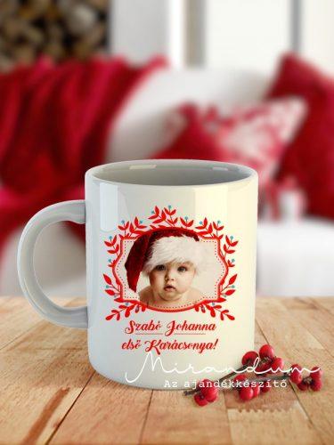 Karácsonyi bögre fényképpel piros