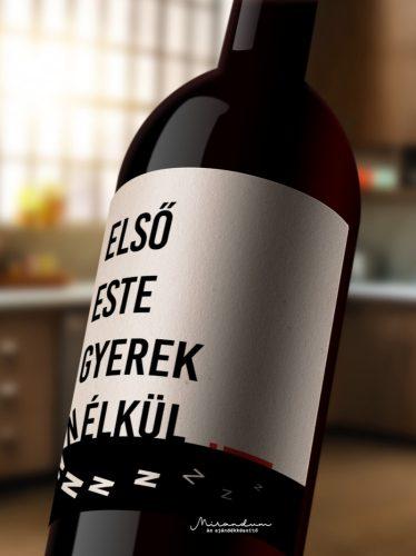 Első szabad esténk borosüveg címke