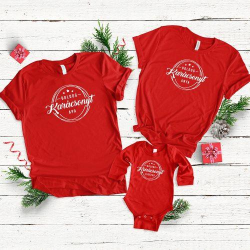 Karácsonyi családi szett piros