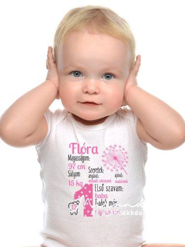 Születésnapi body saját névvel, adatokkal pitypangos pink