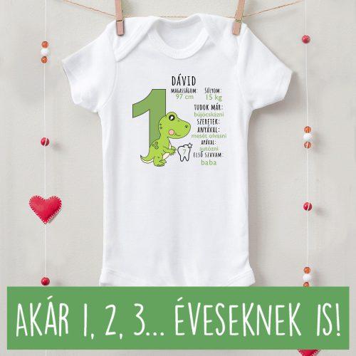 1 és 2 éves születésnapi body saját névvel, adatokkal dínós zöld