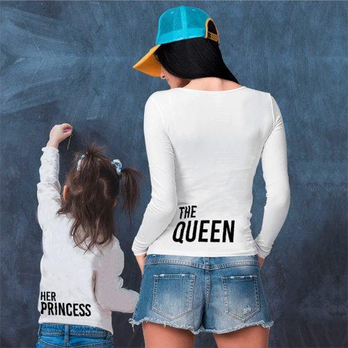 Anya-lánya szett - hosszú ujjú póló queen-princess