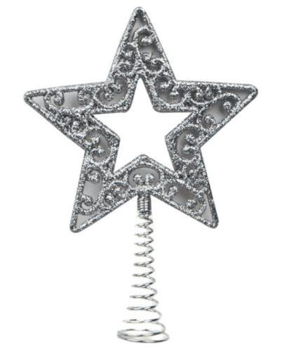Csillag csúcsdísz ezüst 14cm