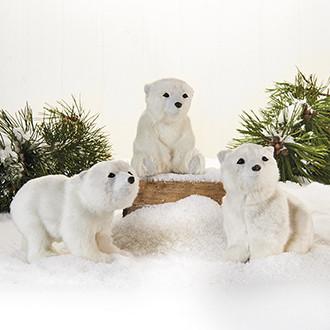 Jegesmedve dekoráció, műszőrme, 12 cm, 3 féle