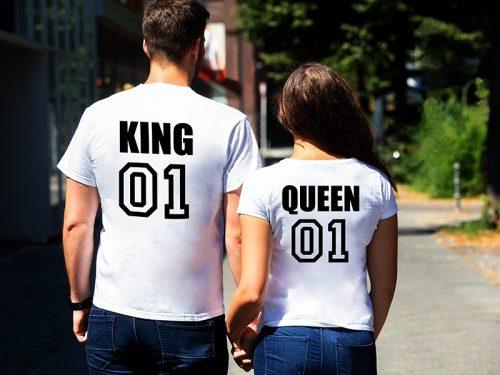 Páros póló king and queen fehér (mez)