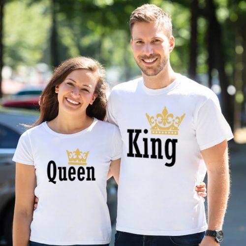 Páros póló queen and king koronás