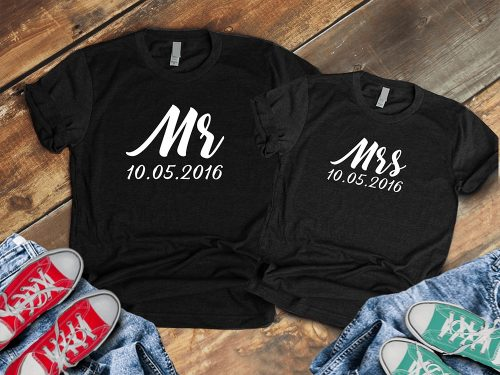 Fekete páros póló Mr and Mrs.