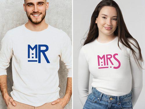 Páros póló Mr és Mrs. - kék és pink
