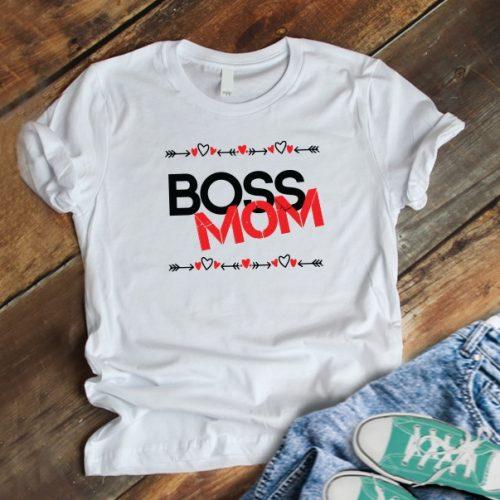 Boss Mom szívecskés póló