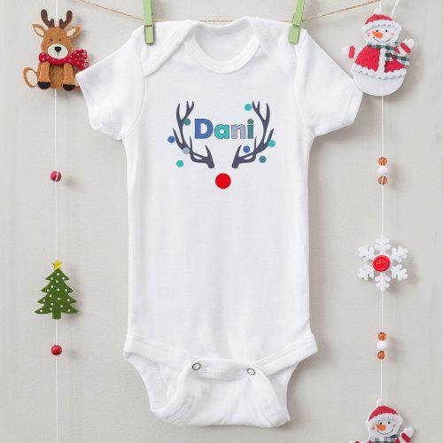 Karácsonyi body szarvasos névvel (fiú)