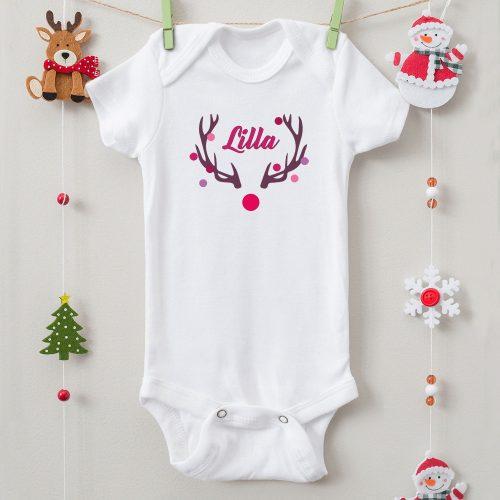 Karácsonyi body szarvasos névvel (lány)